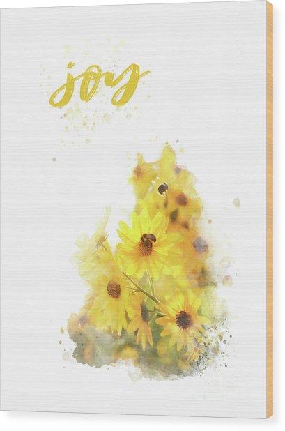 Bright Watercolor Print, Floral Wall Art, Joy Wood Print