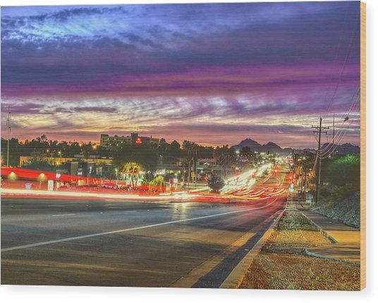 Broadway Sunset, Tucson, Az Wood Print