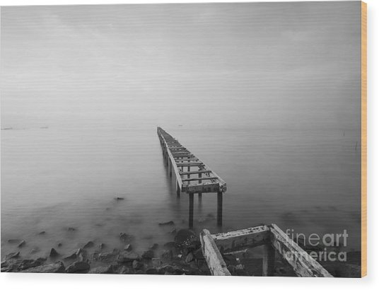 Broken Wood Bridge And Waves Crashing Wood Print by Nelzajamal