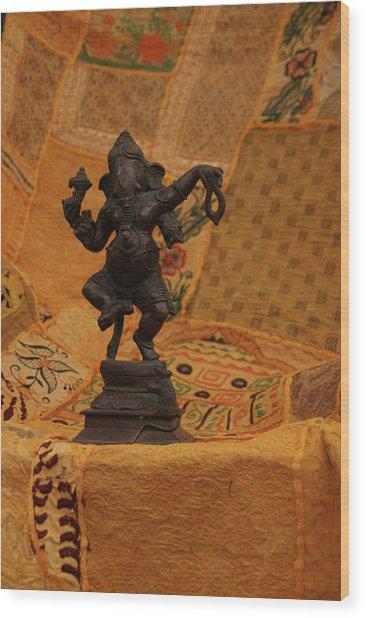 Bronze Ganesha Dancing Wood Print