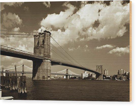 Brooklyn Bridge In Sepia Wood Print by Gcoles