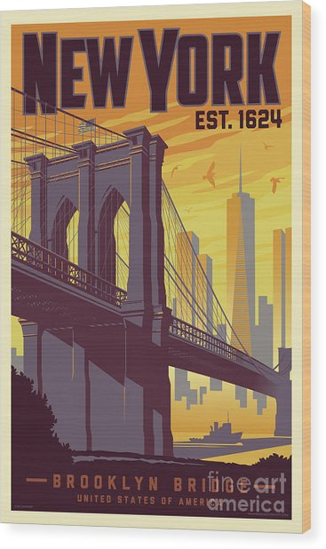 Brooklyn Bridge Poster - New York Vintage Wood Print