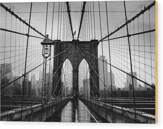 Brooklyn Bridge Wood Print by Serhio.com Photography By Sergei Yahchybekov