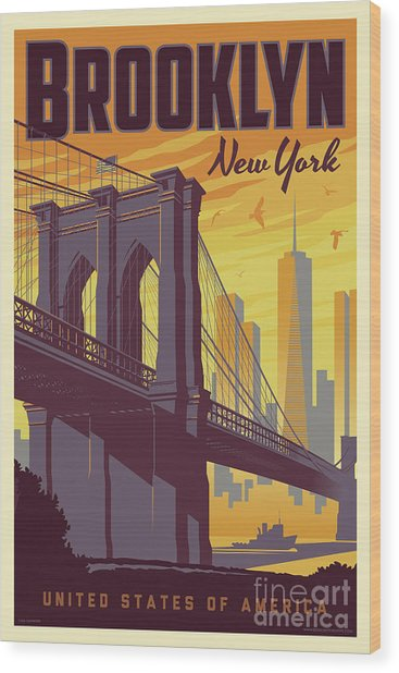 Brooklyn Poster - Vintage Brooklyn Bridge Wood Print