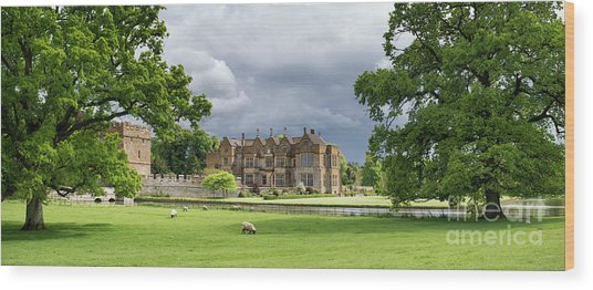 Broughton Castle In Spring Panoramic Wood Print by Tim Gainey