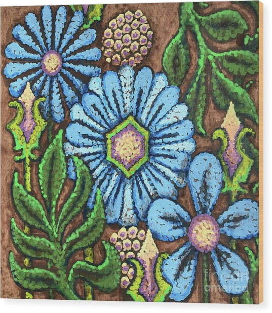 Brown And Blue Floral 1 Wood Print