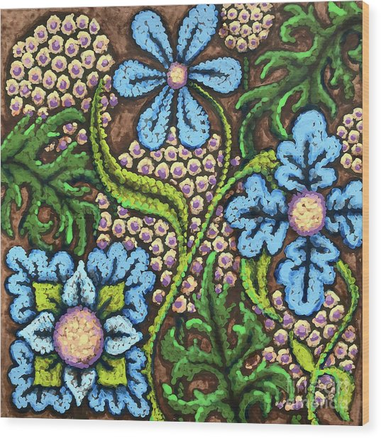 Brown And Blue Floral 2 Wood Print