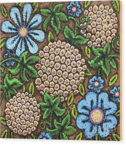Brown And Blue Floral 3 Wood Print