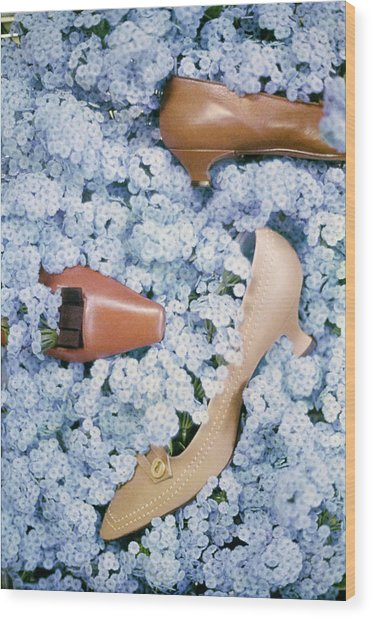 Brown Shoes In Bed Of Blue Flowers Wood Print by Gordon Parks