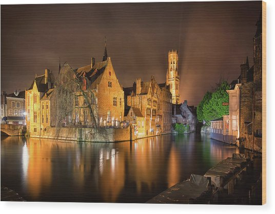 Wood Print featuring the photograph Brugge Belgium Belfry Night by Nathan Bush