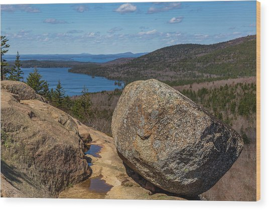 Acadia Np - Bubble Rock Wood Print