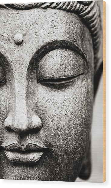 Buddha Face Wood Print by Maodesign