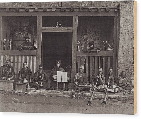 Buddhist Music Wood Print by Henry Guttmann Collection