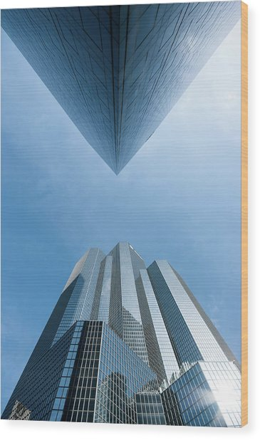 Buildings Face To Face Wood Print by © Philippe Lejeanvre