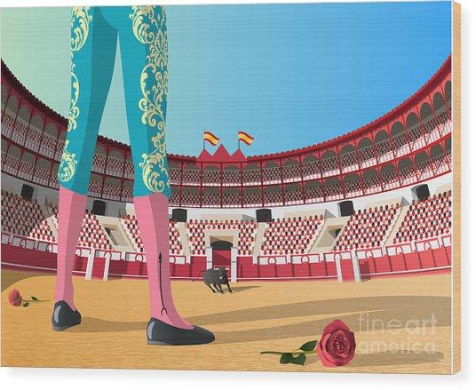 Bullfighter Versus Angry Bull In Arena Wood Print