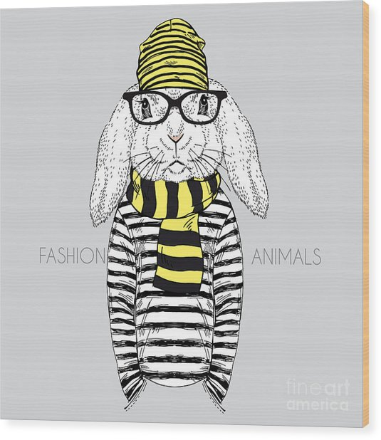Bunny Boy Hipster Dressed Up In Frock Wood Print