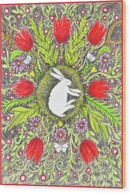 Bunny Nest With Red Flowers And White Butterflies Wood Print