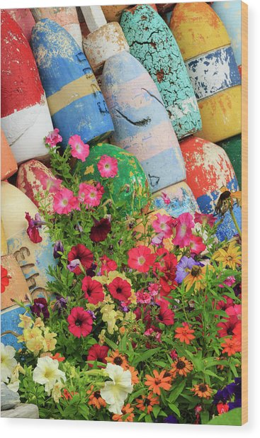 Buoys And Petunia Flowers, Rockport Wood Print by Adam Jones