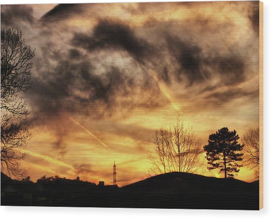 Burning Clouds Wood Print