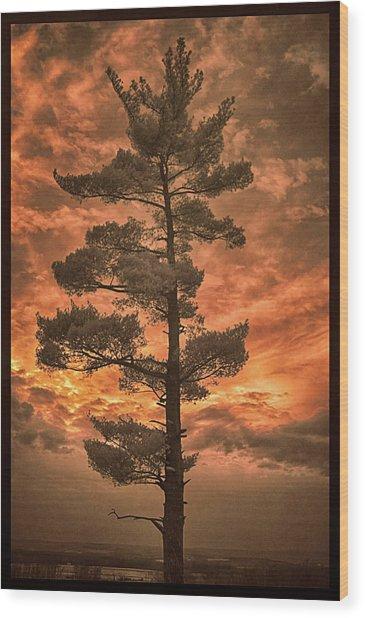 Burning Sky Wood Print