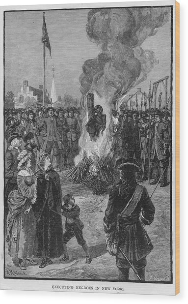 Burning Slaves At The Stake Wood Print by Kean Collection