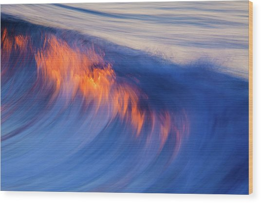 Burning Wave Wood Print