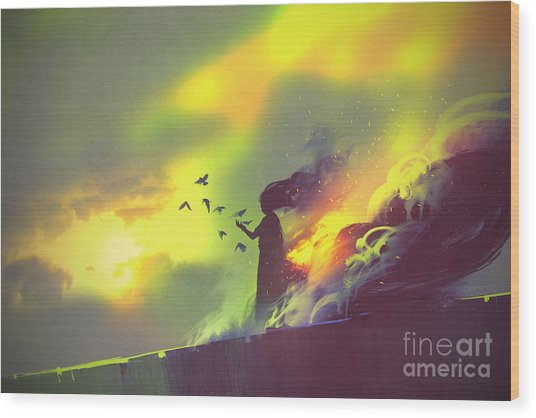 Burning Woman Standing Against Cloudy Wood Print by Tithi Luadthong