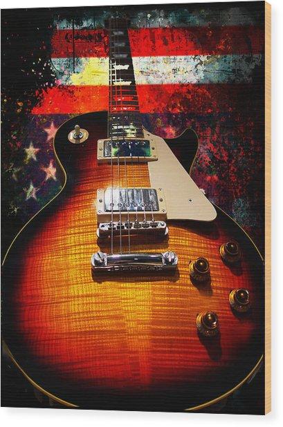 Wood Print featuring the digital art Burst Guitar American Flag Background by Guitar Wacky