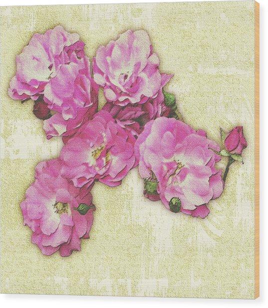 Bush Roses Painted On Sandstone Wood Print
