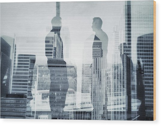 Business In The City Wood Print by Xavierarnau
