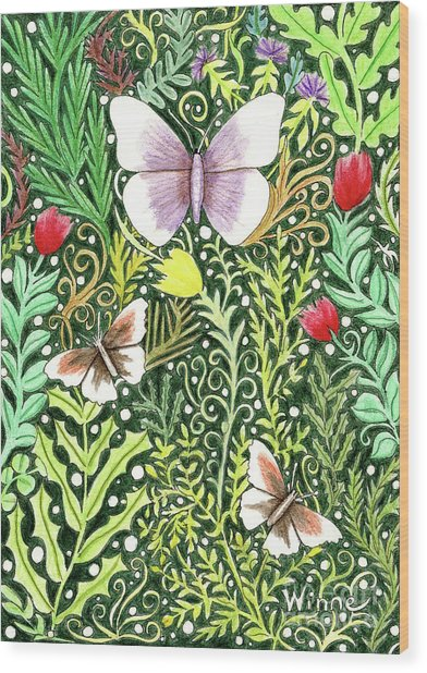 Butterflies In The Millefleurs Wood Print