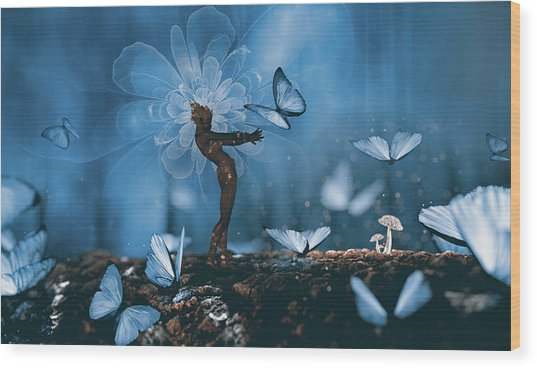 Butterfly Catcher Wood Print