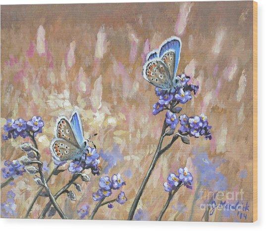 Butterfly Meadow - Part 3 Wood Print