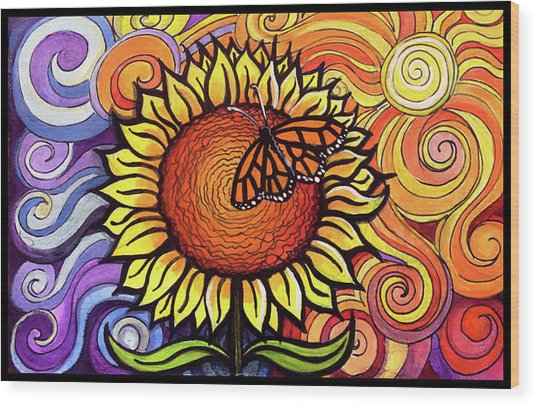 Butterfly Sunflower Wood Print