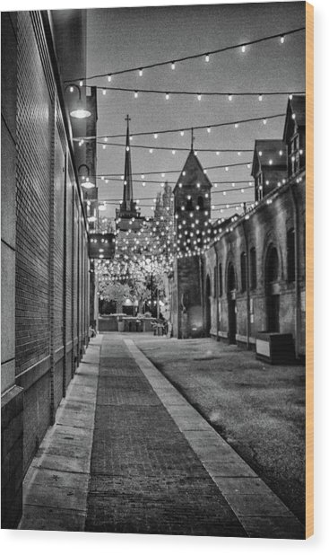 Bw City Lights Wood Print