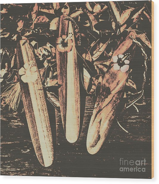 Bygone Boarding Wood Print
