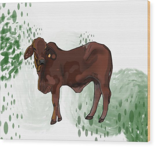 C Is For Cow Wood Print