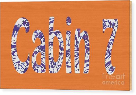 Cabin 7 Blue White Orange Wood Print