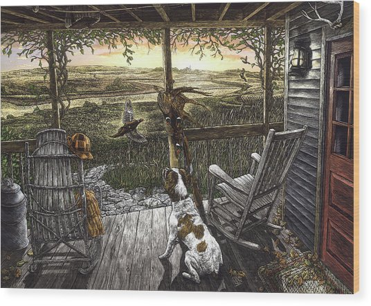 Wood Print featuring the drawing Cabin Fever by Clint Hansen