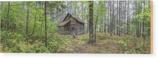 Wood Print featuring the photograph Cabin In The Forest by Pierre Leclerc Photography