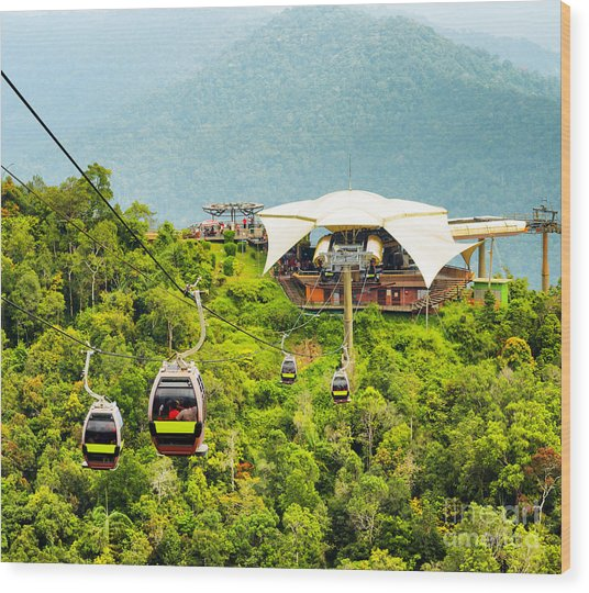 Cable Car On Langkawi Island, Malaysia Wood Print by Efired