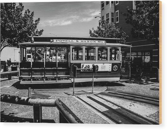 Cable Car Turn Around Wood Print