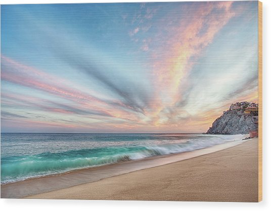 Cabo San Lucas Beach Wave Sunset Wood Print