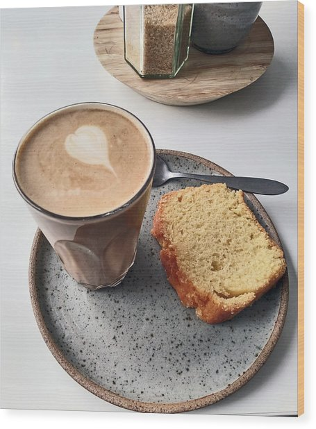 Cafe. Latte And Cake.  Wood Print