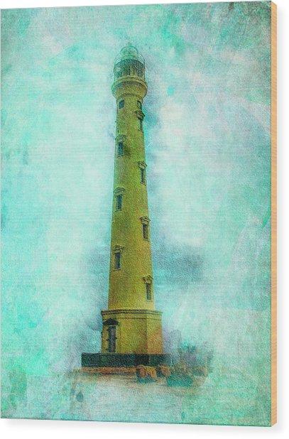 California Lighthouse Aruba Wood Print