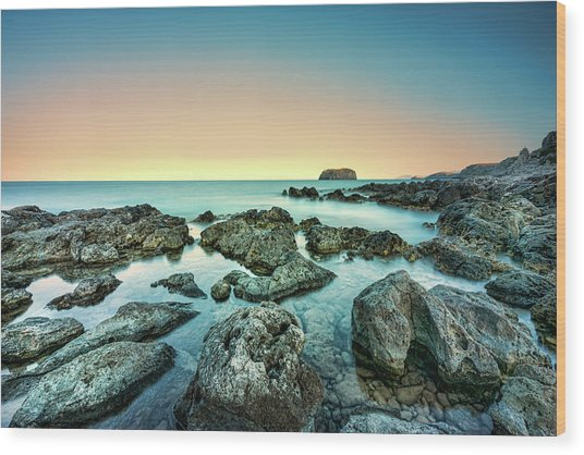 Calm Rocky Coast In Greece Wood Print
