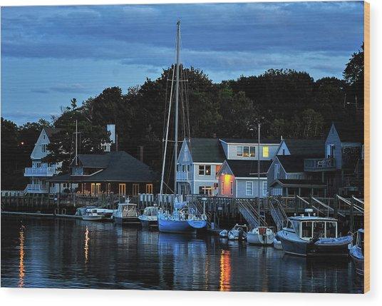 Camden Maine Twightlight Wood Print