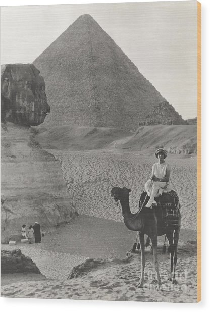 Camel Ride At The Sphinx And Pyramids Wood Print