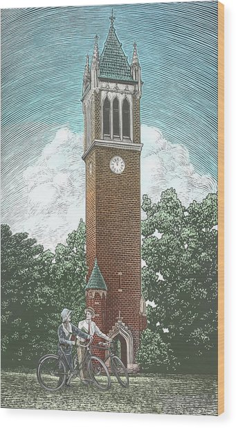 Wood Print featuring the drawing Campanile 1928 by Clint Hansen