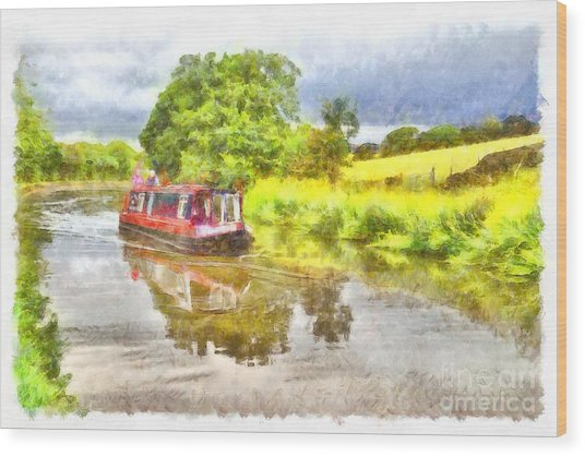 Canal Boat On The Leeds To Liverpool Canal Wood Print
